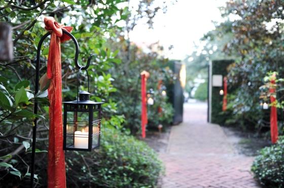 Lanterns, burnt orange ribbons