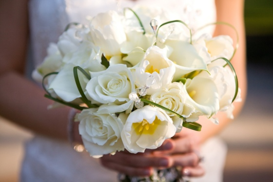 White Tulips, White Roses, Bear Grass, Crystals