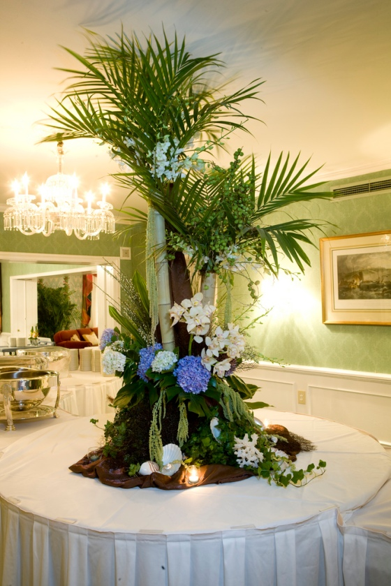 Palm Fronds, Bamboo, Hydrangea, Orchids, Sea Shells