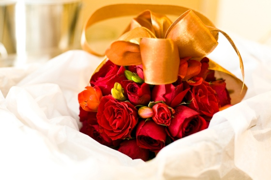 Red Rose Flower Ball with Gold Ribbon