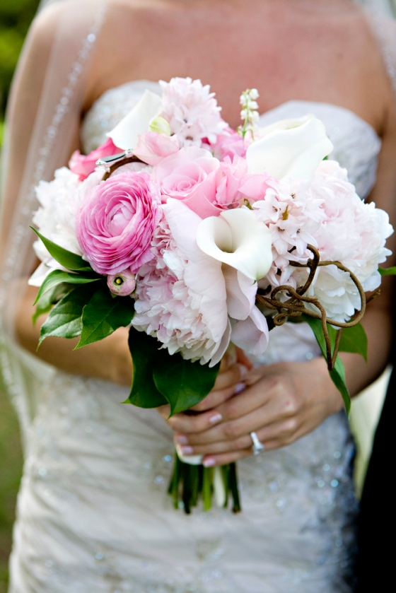 Pink Ranulous, Pink Peonies, White Calla Lilies, Pink Roses, Lily of the Valley, Kiwi Branch