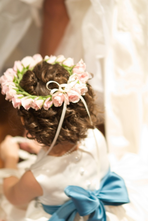Blush Rosebud Flower Girl Halo
