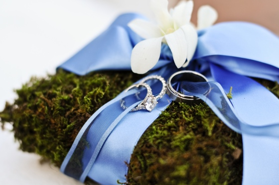 Moss Ring Pillow with Blue Ribbon and White Orchid