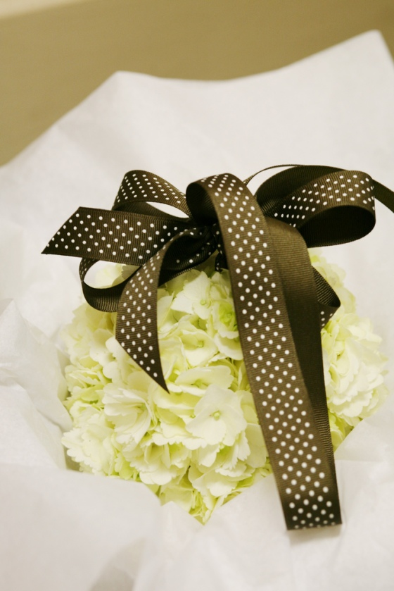 White Hydrangea Flower Ball with Brown Ribbon